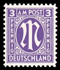 3 Rpf Briefmarke: M-Serie, Alliierte Militärpost, amerikanischer Druck (weit gezähnt)