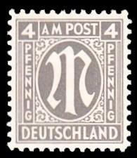 4 Rpf Briefmarke: M-Serie, Alliierte Militärpost, amerikanischer Druck (weit gezähnt)