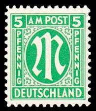 5 Rpf Briefmarke: M-Serie, Alliierte Militärpost, amerikanischer Druck (weit gezähnt)