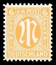 6 Rpf Briefmarke: M-Serie, Alliierte Militärpost, amerikanischer Druck (weit gezähnt)