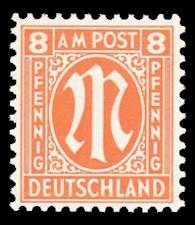 8 Rpf Briefmarke: M-Serie, Alliierte Militärpost, amerikanischer Druck (weit gezähnt)