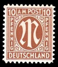 10 Rpf Briefmarke: M-Serie, Alliierte Militärpost, amerikanischer Druck (weit gezähnt)