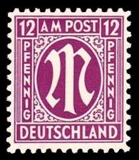 12 Rpf Briefmarke: M-Serie, Alliierte Militärpost, amerikanischer Druck (weit gezähnt)