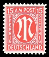 15 Rpf Briefmarke: M-Serie, Alliierte Militärpost, amerikanischer Druck (weit gezähnt)