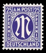 25 Rpf Briefmarke: M-Serie, Alliierte Militärpost, amerikanischer Druck (weit gezähnt)