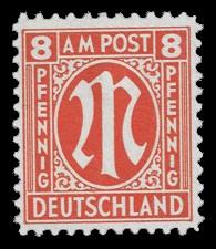 8 Rpf Briefmarke: M-Serie, Alliierte Militärpost, deutscher Druck (weit gezähnt)