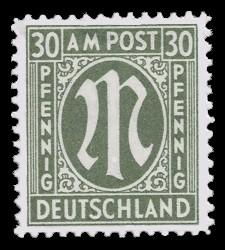 30 Rpf Briefmarke: M-Serie, Alliierte Militärpost, deutscher Druck (weit gezähnt)