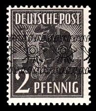 2 Pf Briefmarke: Freimarken II. Kontrollratsausgabe, Pflanzer - mit sw. Bdr.-Aufdruck: Posthörnchen bandförmig