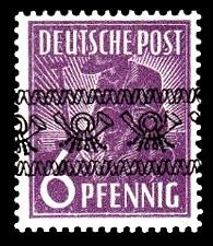 6 Pf Briefmarke: Freimarken II. Kontrollratsausgabe, Pflanzer - mit sw. Bdr.-Aufdruck: Posthörnchen bandförmig