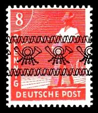 8 Pf Briefmarke: Freimarken II. Kontrollratsausgabe, Sämann - mit sw. Bdr.-Aufdruck: Posthörnchen bandförmig