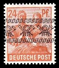 24 Pf Briefmarke: Freimarken II. Kontrollratsausgabe, Maurer und Bäuerin - mit sw. Bdr.-Aufdruck: Posthörnchen bandförmig