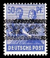 50 Pf Briefmarke: Freimarken II. Kontrollratsausgabe, Maurer und Bäuerin - mit sw. Bdr.-Aufdruck: Posthörnchen bandförmig