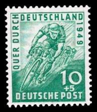 10 + 5 Pf Briefmarke: Radrennen Quer durch Deutschland 1949