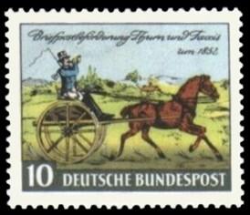 10 Pf Briefmarke: Briefpostbeförderung Thurn und Taxis