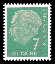 7 Pf Briefmarke: Th. Heuss - 1.Bundespräsident