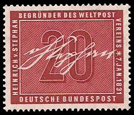 20 Pf Briefmarke: 125. Geburtstag Heinrich von Stephan