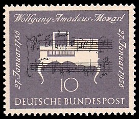 10 Pf Briefmarke: 200. Geburtstag W.A.Mozart