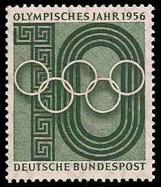 10 Pf Briefmarke: Olympisches Jahr 1956