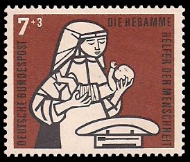 7 + 3 Pf Briefmarke: Helfer der Menschheit, 1956