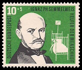 10 + 5 Pf Briefmarke: Helfer der Menschheit, 1956