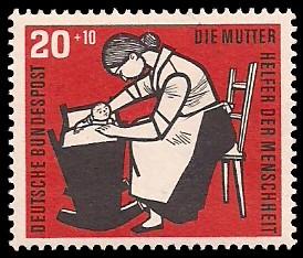20 + 10 Pf Briefmarke: Helfer der Menschheit, 1956