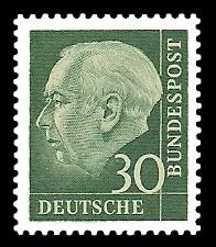 30 Pf Briefmarke: Th. Heuss - 1.Bundespräsident