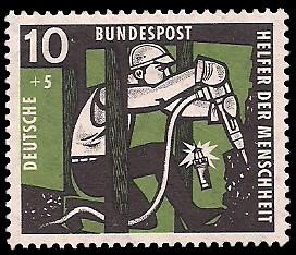 10 + 5 Pf Briefmarke: Helfer der Menschheit, 1957