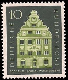 10 Pf Briefmarke: 500 Jahre Landtag Württemberg