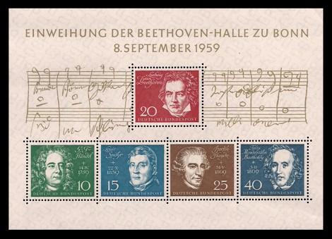 Briefmarke: Blockausgabe Einweihung der Beethoven-Halle zu Bonn