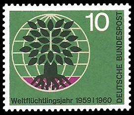 10 Pf Briefmarke: Weltflüchtlingsjahr