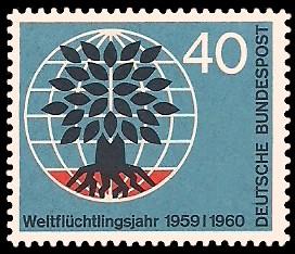 40 Pf Briefmarke: Weltflüchtlingsjahr