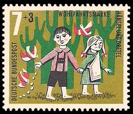 7 + 3 Pf Briefmarke: Wohlfahrtsmarke 1961, Hänsel und Gretel