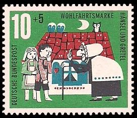 10 + 5 Pf Briefmarke: Wohlfahrtsmarke 1961, Hänsel und Gretel