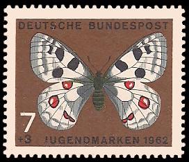 7 + 3 Pf Briefmarke: Für die Jugend 1962, Schmetterlinge