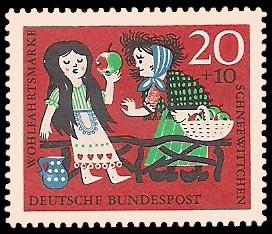 20 + 10 Pf Briefmarke: Wohlfahrtsmarke 1962, Schneewittchen