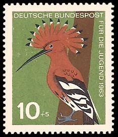 10 + 5 Pf Briefmarke: Für die Jugend 1963, Vögel