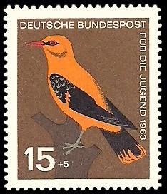 15 + 5 Pf Briefmarke: Für die Jugend 1963, Vögel