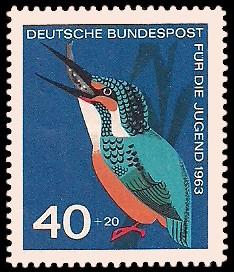 40 + 20 Pf Briefmarke: Für die Jugend 1963, Vögel