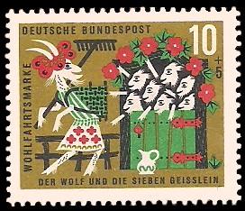 10 + 5 Pf Briefmarke: Wohlfahrtsmarke 1963, Wolf u. sieben Geißlein