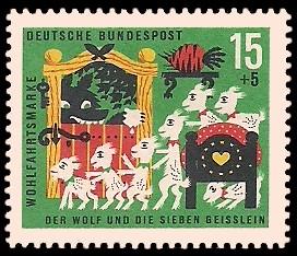 15 + 5 Pf Briefmarke: Wohlfahrtsmarke 1963, Wolf u. sieben Geißlein