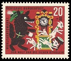 20 + 10 Pf Briefmarke: Wohlfahrtsmarke 1963, Wolf u. sieben Geißlein