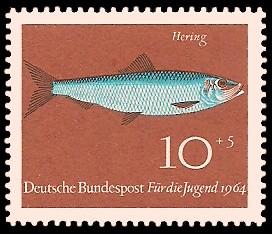 10 + 5 Pf Briefmarke: Für die Jugend 1964, Fische