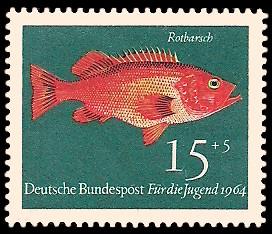 15 + 5 Pf Briefmarke: Für die Jugend 1964, Fische