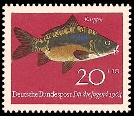 20 + 10 Pf Briefmarke: Für die Jugend 1964, Fische
