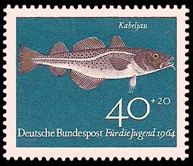 40 + 20 Pf Briefmarke: Für die Jugend 1964, Fische