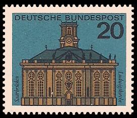 20 Pf Briefmarke: Hauptstädte der Bundesländer, Saarbrücken