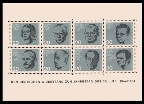 Briefmarke: Block: 20. Jahrestag des Attentats vom 20.7.1944