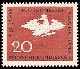 20 Pf Briefmarke: 250 Jahre Rechnungshof in Deutschland