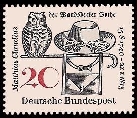 20 Pf Briefmarke: 150. Todestag Matthias Claudius