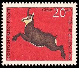 20 + 10 Pf Briefmarke: Für die Jugend 1966, Hochwild